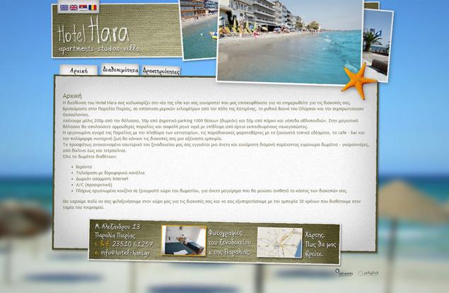 Αρχική σελίδα ιστοσελίδας hotel hara